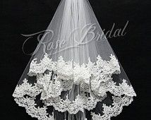 Waist elbow length short bridal wedding veils use tulle with appliques pattern edge for bridal wedding