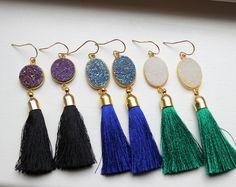 23c3d639c86a Gold Druzy Earrings Tassel Fringe Druzy Earrings Drusy Jewelry - Christmas  Gift Tassel Statement Jewelry -