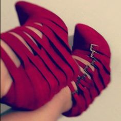snapette:    Strappy reds from Jeffrey Campbell (Taken with Snapette) via MissNur  * Use the Snapette app to capture and share the latest bags and shoes and your snap can be featured on our blog!  Check out the app here »