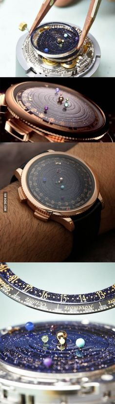 A watch that puts the solar system on your wrist. I woyld love one of this, but I'm sure I'd break it.