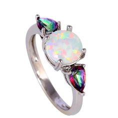 Sterling Silver Gorgeous Round Fire White Opal w/ Mystic Topaz Ring Sz 6-10