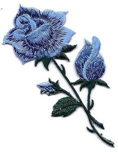 Red rose buds long stem 4 x 9 3 4 iron on for Blue long stem roses