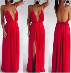 Backless Prom Dresses,Open Back Chiffon Prom Dress,Red Prom Gown,Vintage Prom Gowns,Elegant Evening Dress,Cheap Evening Gowns,Slit Party Gowns