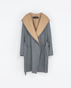HOODED WOOL COAT from Zara