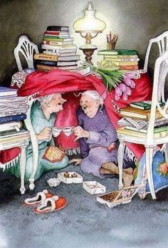 """ ~ Never Had Such A Laugh Over An Afternoon Tea ~ C.Crystal~ Illustrator: Inge Look~ Growing Old Disgracefully❤ Illustrator, Old Women, Old Ladies, Alter, Book Worms, My Best Friend, Dear Friend, Tea Party, Book Art"