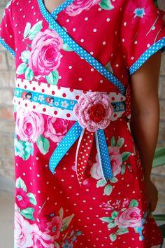 Kimono dress with beautiful Farbenmix ribbon trim. Pattern from Onion (Danish pattern company)