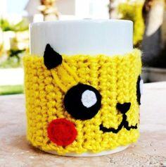 Pikachu Inspired Coffee Mug Tea Cup Cozy: Pokemon -ish Japanese Cartoon Crochet…