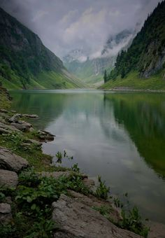 Mountain lake in Falensee, the Alps, Switzerland.