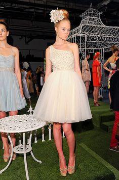 One shoulder beaded tulle wedding reception dress Alice & Olivia