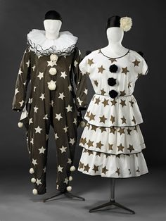 Pierrot and Pierrette Costumes — The John Bright Collection Showgirl Costume, Circus Costume, Roaring 20s Fashion, Victorian Fancy Dress, Vintage Circus, Vintage Costumes, Masquerade, 1920s, Bright