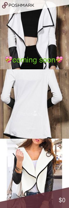Faux Leather Asymmetrical Cardigan Stylish Long Sleeve Faux Leather Spliced Asymmetrical Women's Cardigan.                 Bust 36.22  length 29.53 Sweaters Cardigans
