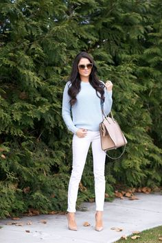 Light pastel, fashion, blue, personal style, white pants, street styles, jean outfits, white jeans, pink peonies