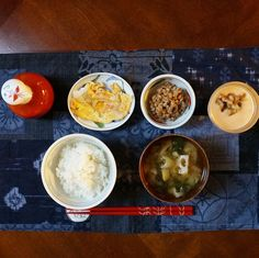 bkf = crab stick scrambled egg, natto, lotus roots leek shungiku miso soup, rice and persimmon yogurt smoothie topped with walnuts