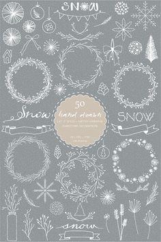 50 Hand Drawn Let It Snow Digital Clip Art-Winter by idadrawing