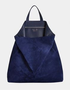 All Tsatsas bags are made in Germany. 38 cm width x 40 cm height x 8 cm diameter Lining is 100% lamb nappa in pacific blue, 855 euro