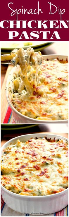 Spinach Dip Chicken Pasta - creamy and cheesy dinner recipe made with your favorite dip, pasta and chicken. A huge family favorite!