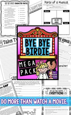 This Bye Bye Birdie mega pack is all the rage! The story morning glory is that these no prep worksheets, activities and coloring sheets save you time planning for your classroom.  Great to leave for a sub, but meaty enough for you to teach too!  Designed to work with the movie musical but could be adapted to other versions.