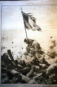 Guerre 14-18. Les Annales. La journée des drapeaux, composition de P. Thiriat, juillet 1917