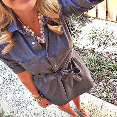 Chambray shirt dress - belted or cinched waist Passion For Fashion, Love Fashion, Spring Summer Fashion, Autumn Fashion, Preppy Style, My Style, Summer Outfits, Cute Outfits, Dress Up