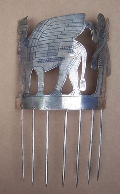 Unusual Archaeological Hair Comb Assyrian Style with Winged Bull and from spanishcomb on Ruby Lane
