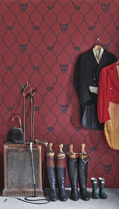 Fox & Hen wallpaper (brick)