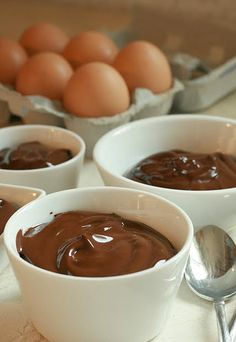 Dark Chocolate Creams Recipe:  so easy!  A chocolate lovers dream.  Top with red raspberries
