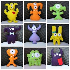 Adopt a Moster! DIY Felt Monster- 22 different design inspirations (Diy Ornaments Felt) Monster Party, Monster Toys, Adopt A Monster, Sock Monster, Felt Diy, Felt Crafts, Fabric Crafts, Sewing Toys, Sewing Crafts