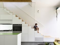 Photo 1 of 2819 in Best Photos from Austin Maynard Architects Turn an Old Terrace House Into a Light-Filled Home - Dwell Terraced House, Kitchen Near Stairs, City Living, Living Spaces, Carl Stahl, Grant House, Secret Rooms, Australian Homes, Staircase Design