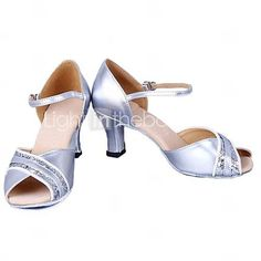 Latin Women's Sandals Low Heel Leatherette Sequin Dance Shoes(More Colors) - USD $ 19.99