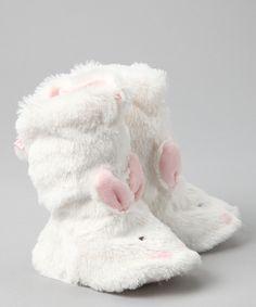 White & Pink Snugs Booties