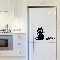 Stickers muraux pour réfrigérateur - Sticker Chat et poisson-os | Ambiance-live.com