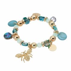 Beaded Bee Charm Stretch Bracelet, Blue