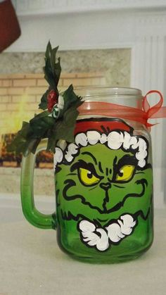 Check out this item in my Etsy shop https://www.etsy.com/listing/256090359/hand-painted-grinch-mason-jar-with