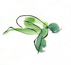 watercolor, bakasana