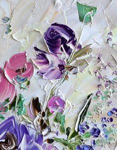 Peinture à lhuile Original de Art abstrait violet fleurs