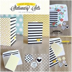 Free Stationery Sets from Kiki and Company. Flowers and Stripes.