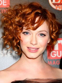Curly Asymmetrical Haircuts | Christina Hendricks Curly Short Hairstyles Celebrity Hairstyles Short ...