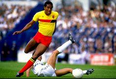 John Barnes (Watford FC, 1981–1987, 233 apps, 65 goals). Tottenham Hotspur vs Watford 4-0, on 17 August 1985.
