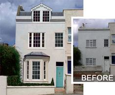 Befores and afters inspire and show transformation in reality. Making things happen creates a sense of huge achievement. Where better to start than with your own home. Victorian Terrace, Victorian Homes, Exterior Renovation Before And After, Exterior Design, Colonial Exterior, Ranch Exterior, Modern Exterior, Exterior Makeover, Exterior Remodel