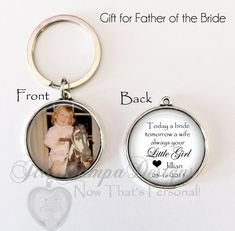 FATHER of the BRIDE GIFT - Bride's gift to Dad on wedding day - Today a Bride, wedding day gift for dad - photo key chain