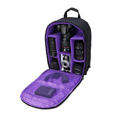 """Camera Bag Camera Backpack Waterproof 16"""" X 13"""" X 5"""" with Rain Cover for DSLR Cameras , Lens, Tripod and Accessories (Purple, Large)"""