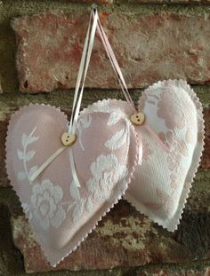 Pair of Fabric Hanging Padded Hearts Laura Ashley Lovell Chalk Pink Cream