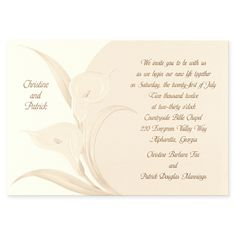 Wedding Invitations   Birchcraft Embossed Pearl Calla Lilies Invitation  Wedding Floral Accents   A Nice Touch