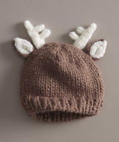 deer knit hat - Oh deer! Here's a darling knit hat for a new member of your family.