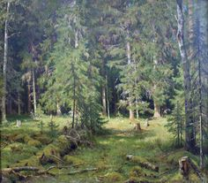 Ivan Shishkin Wald Anagoria, 1880 - Stay and look at the woods - really look. Nature relaxes me so much: Watercolor Trees, Watercolor Landscape, Landscape Paintings, Oil Paintings, Russian Landscape, Green Landscape, Russian Painting, Russian Art, Forest And Wildlife