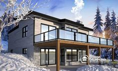 Discover the plan 7900 - Gleason from the Drummond House Plans house collection. Modern Cottage house plan with finished walkout basement, 4 beds, 3 baths, large rear terrace, 2 fireplaces. Total living area of 3170 sqft. Cottage House Plans, Cottage Homes, Plan Chalet, Drummond House Plans, Basement House Plans, Walkout Basement, Modern Cottage, Building A Shed, Modern House Plans
