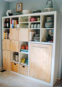 """love this for a small kitchen - I have tons of stuff I want to """"hide"""" but would like shelves too! Use a Expedit shelf from IKEA as kitchen storage and counter - IKEA Hackers Decor, Home Diy, Ikea Expedit, Ikea Kitchen, Kallax Ikea, Diy Kitchen Storage, Ikea Furniture, Home Decor, Ikea"""