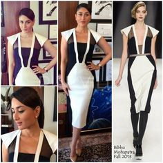 For today's promotions of 'Singham Returns', Kareena Kapoor picked out a monochrome color block dress from designer Bibhu Mohapatra's Fall 2013 collection.  She altered a dress a little from the runway version, with giving the belt a miss and covering the V neck with a more modest black fabric than the little sheer detail on the model..... which I think was a great move. Worked well for her body.She kept the styling simple with stud earrings, a sleek ponytail and nude Manolo Blahnik  pumps.