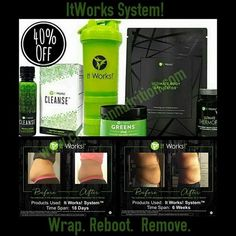 Check out these customers results with our system! What's more powerful than ONE of our amazing It Works! products? How about FOUR of our best products working together in a developed system to deliver even better results! What you get in our system * 1 box Ultimate Body Applicator  * 1 box It Works! Cleanse 4 Bottles  * 1 jar Greens Blend Berry or Orange * 1 bottle Ultimate ThermoFit FREE Blender Bottle (a $17 Value) Message me for 40% off TODAY ONLY!! 💖 Call/Text Patti 619*438*0556