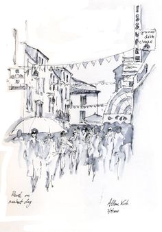 Revel Market, pen and wash by artist Allan Kirk Pen And Wash, Ink Wash, Pen And Watercolor, Watercolor Flowers, Body Drawing, Urban Sketching, Funny Art, Body Parts, Art And Architecture